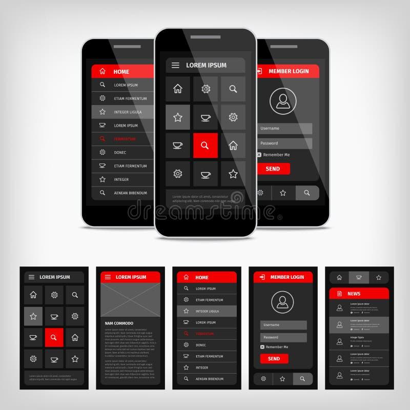 interface utilisateurs mobile de calibre de vecteur illustration stock