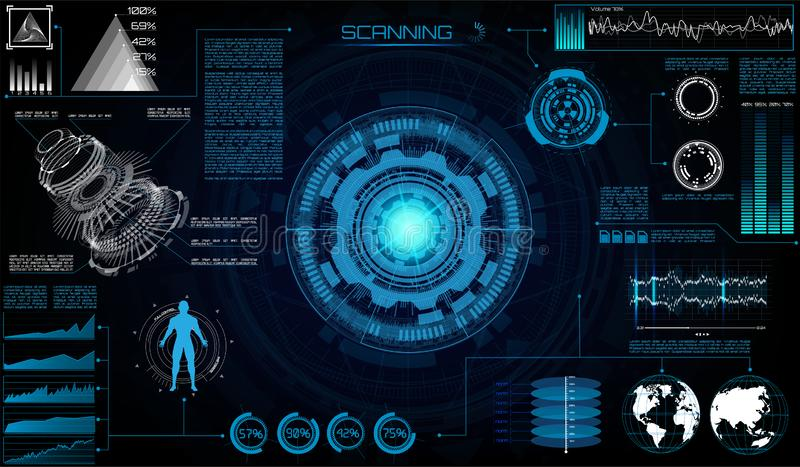 Interface utilisateurs moderne futuriste de Sci fi illustration libre de droits