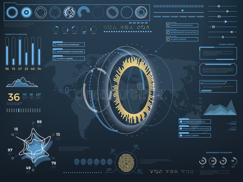 Interface utilisateurs virtuelle de contact de futur concept HUD Écran interactif de vecteur avec le panneau de commande illustration de vecteur