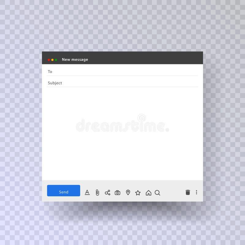 Interface van het de postkader van e-mail de lege malplaatjeinternet voor postbericht De e-mailberichtinterface met verzendt form stock illustratie