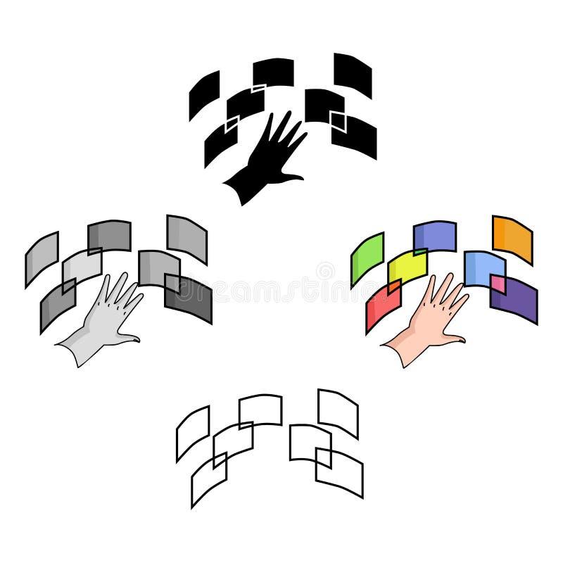 Interface van het virtuele werkelijkheidspictogram in beeldverhaal, zwarte die stijl op witte achtergrond wordt geïsoleerd De vir vector illustratie