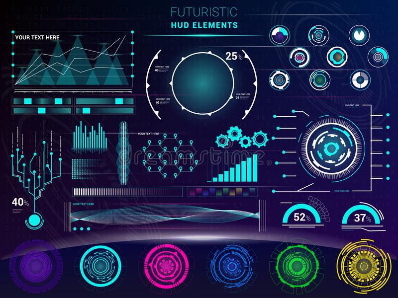 Interface vector interfaced spacepanel and hud dashboard futuristicwith interfacing hologram technology on digital bar. Interfacial screen on spaceship stock illustration