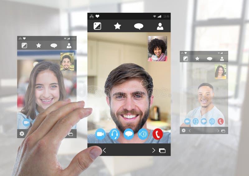 Interface visuelle sociale émouvante de la causerie APP de main image libre de droits