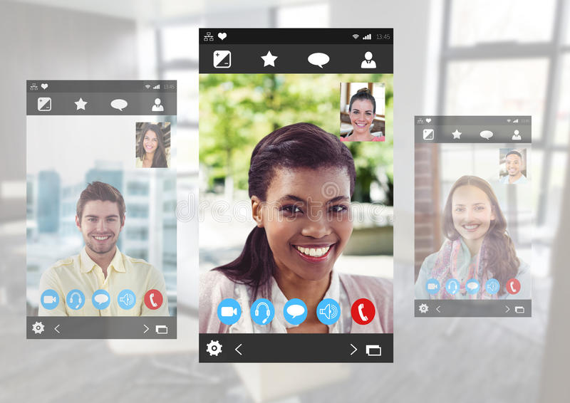 Interface visuelle sociale de la causerie APP images stock