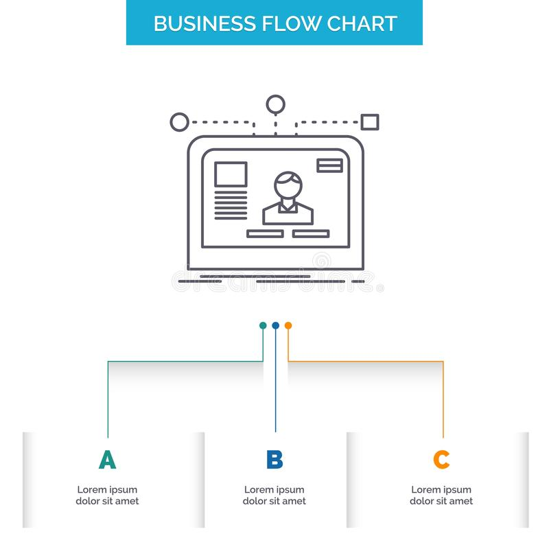 interface, website, user, layout, design Business Flow Chart Design with 3 Steps. Line Icon For Presentation Background Template vector illustration