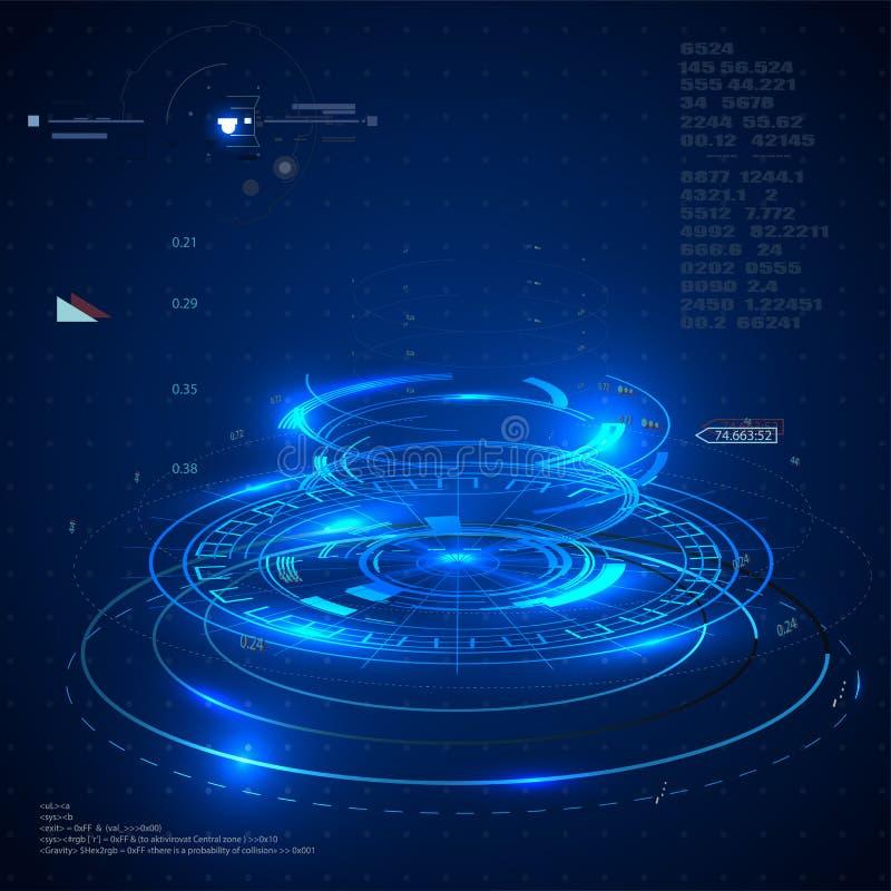 Interfaces de utilizador futuristas, HUD para o app e Web Conceito futurista da ilustração abstrata do vetor ilustração do vetor
