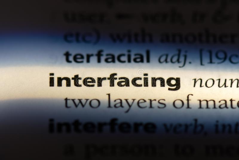 Interfacing. Word in a dictionary.  concept stock images