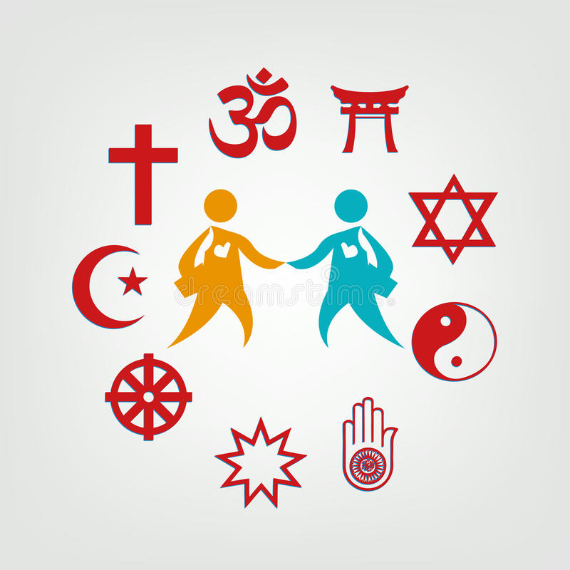 Interfaith dialogillustration Redigerbar gemkonst royaltyfri illustrationer