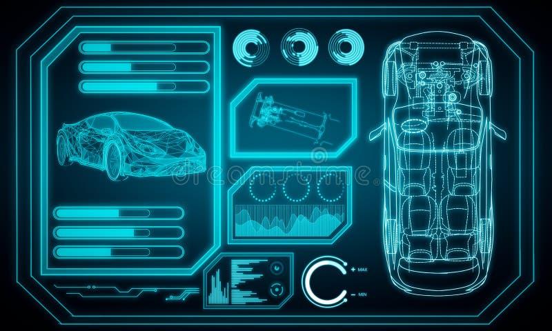 Interfaz azul del coche que brilla intensamente ilustración del vector
