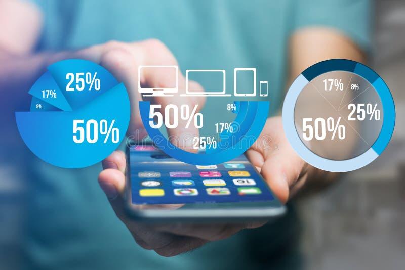 Interfaz azul del gráfico de la encuesta con el tema del negocio que sale un smar fotos de archivo