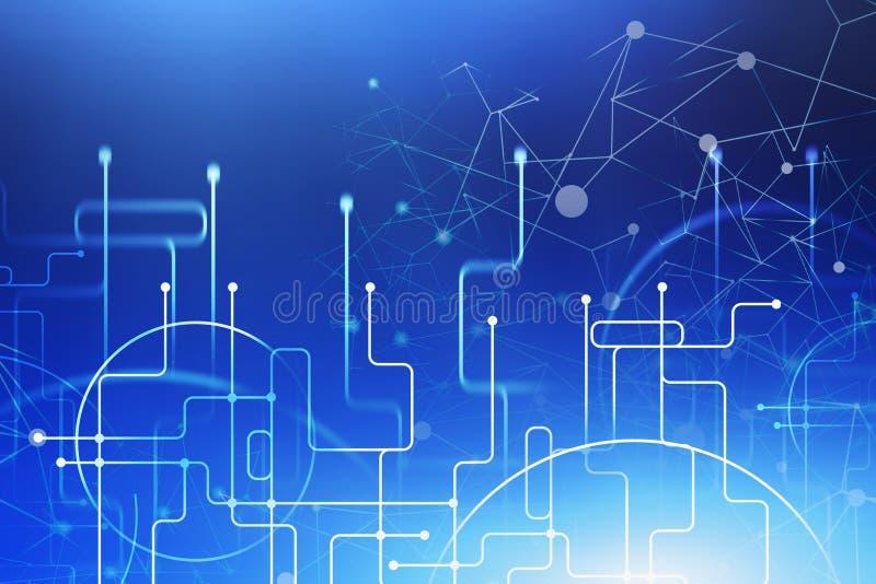 Interfaz azul immersive de la conexión del extracto ilustración del vector