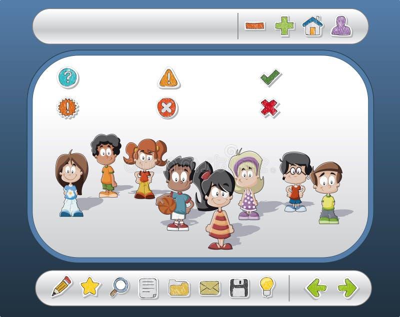 Interfaz con los niños y los iconos ilustración del vector