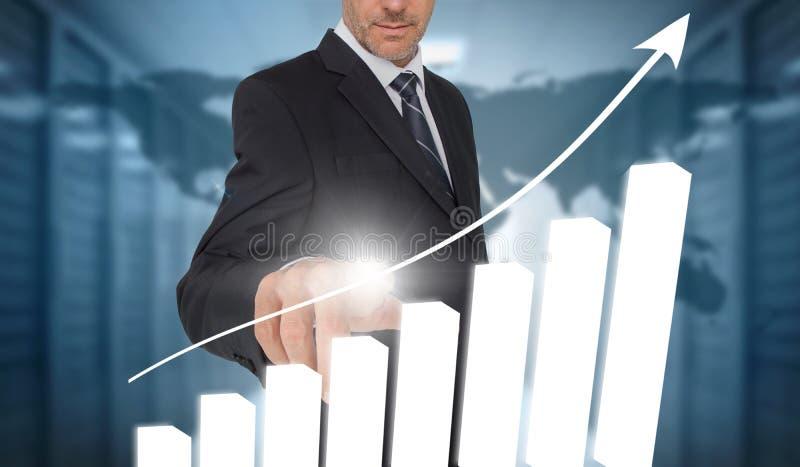 Interfaz conmovedor de la carta de barra del hombre de negocios con el mapa del mundo en fondo ilustración del vector