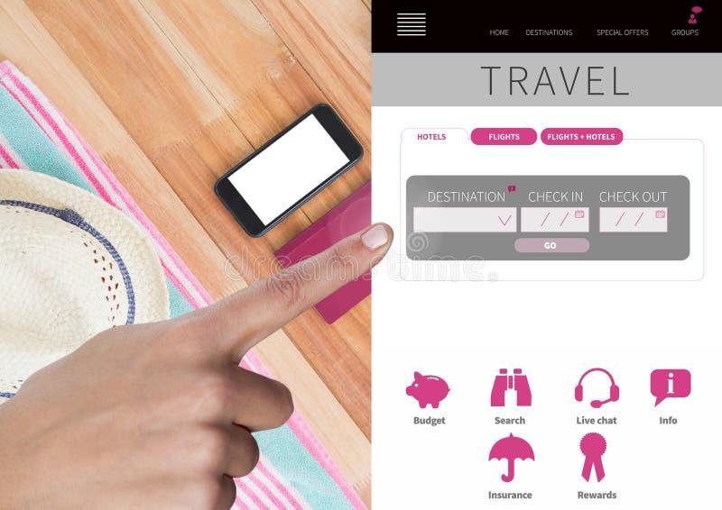 Interfaz conmovedor del App de las vacaciones del viaje de la mano imagen de archivo libre de regalías