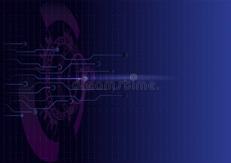 Interfaz de HUD UI con tema cibernético futurista digital de la seguridad ilustración del vector