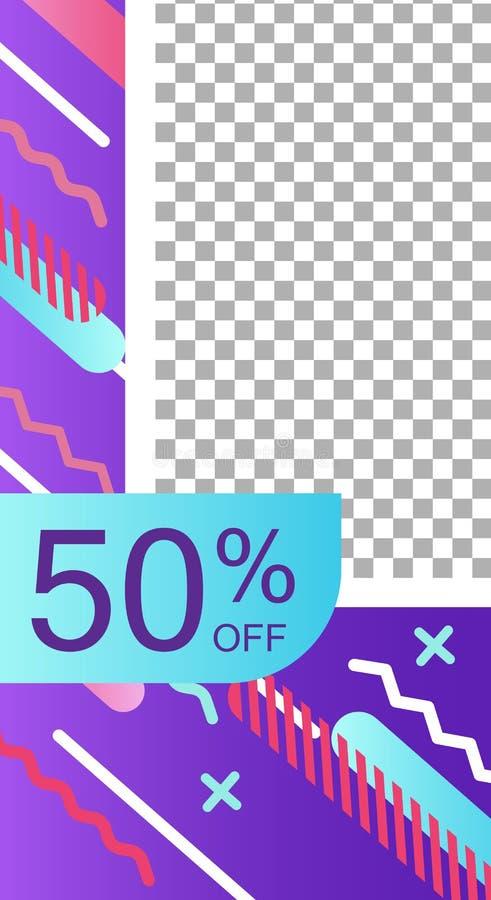 Interfaz de la aplicación móvil en el estilo de Memphis stock de ilustración