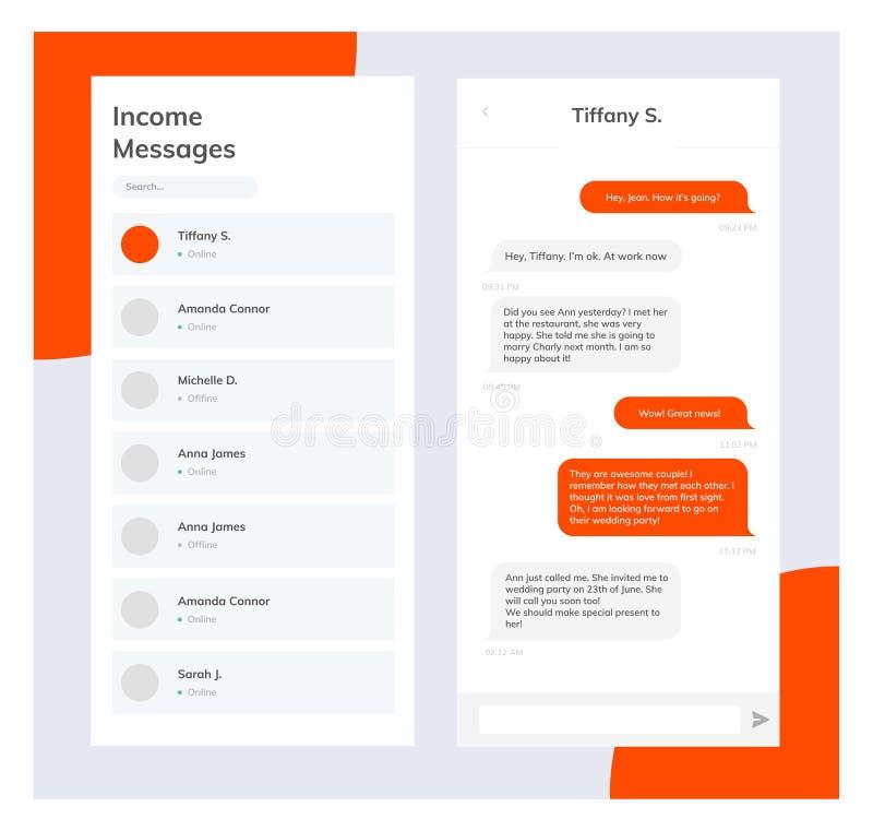 Interfaz de la charla del tel?fono del vector Mensajero del SMS Burbujas del discurso Burbujas del servicio de mensaje corto Inte libre illustration