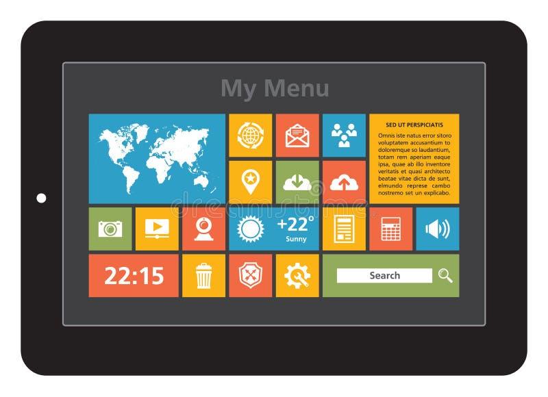 Interfaz de la tableta - iconos fijados ilustración del vector