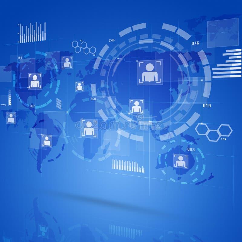 Interfaz de la tecnología de Digitaces ilustración del vector