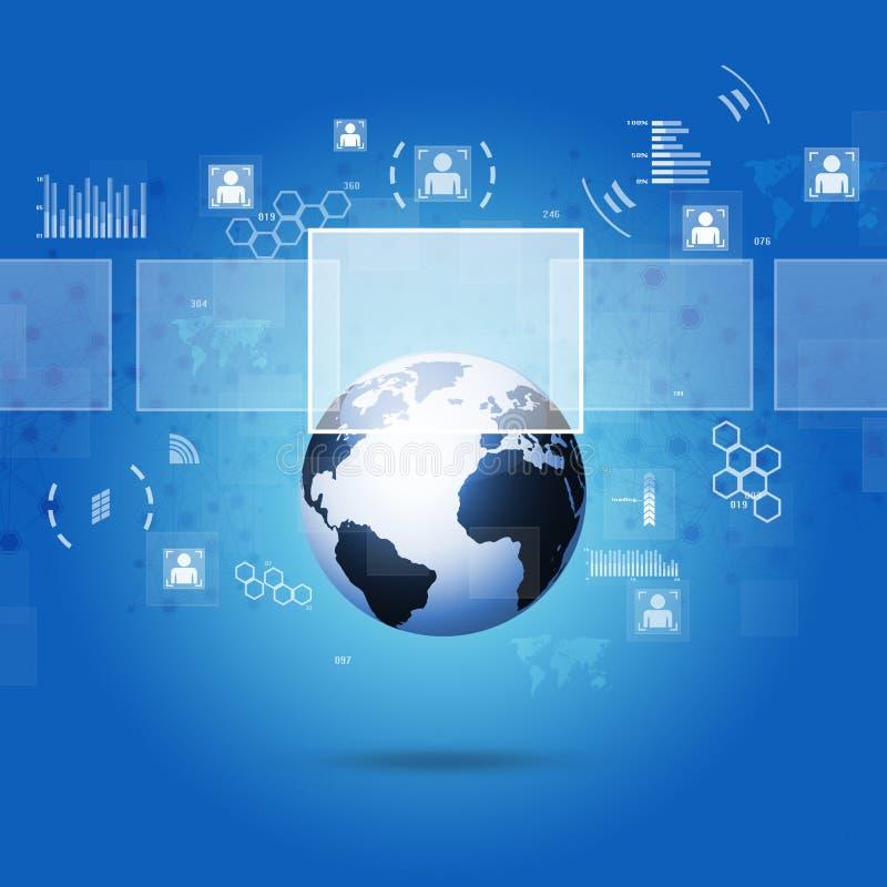 Interfaz de la tecnología de Internet de Digitaces stock de ilustración