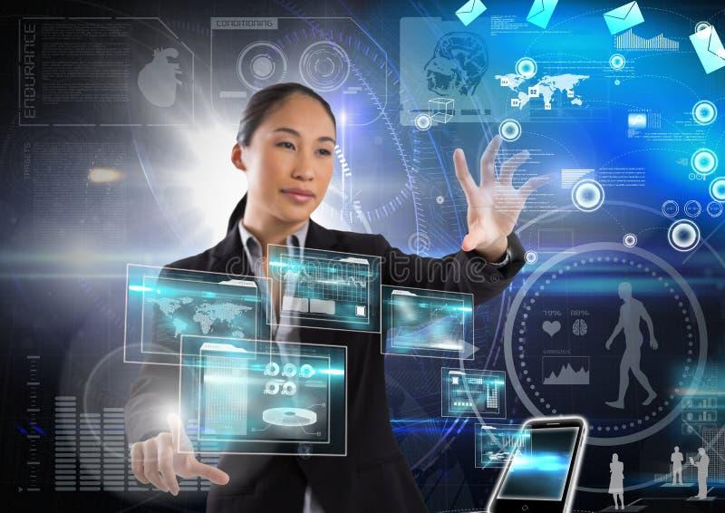 Interfaz de la tecnología y aire conmovedor de la empresaria delante de interfaces de la tecnología de la ciencia ilustración del vector