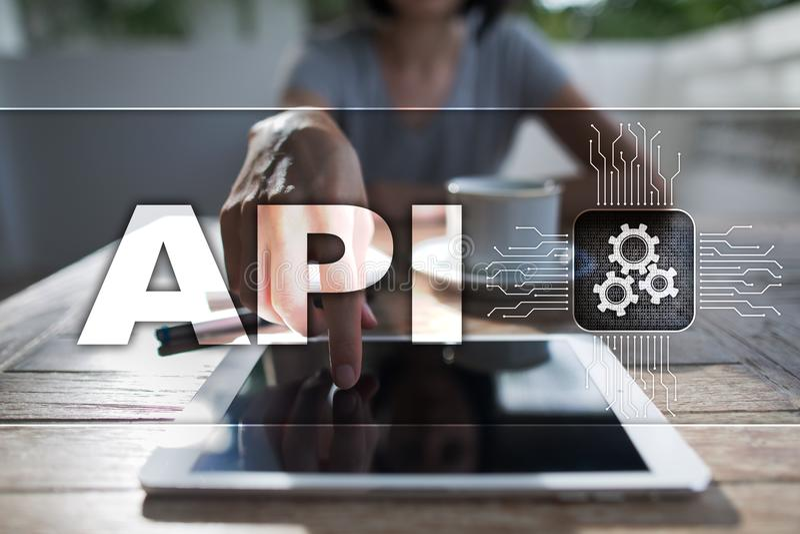 Interfaz de programación de uso API Concepto del desarrollo de programas foto de archivo