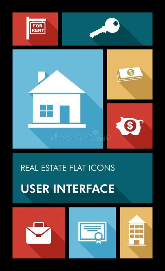 Interfaz de usuario colorida i plano de los apps de las propiedades inmobiliarias UI stock de ilustración