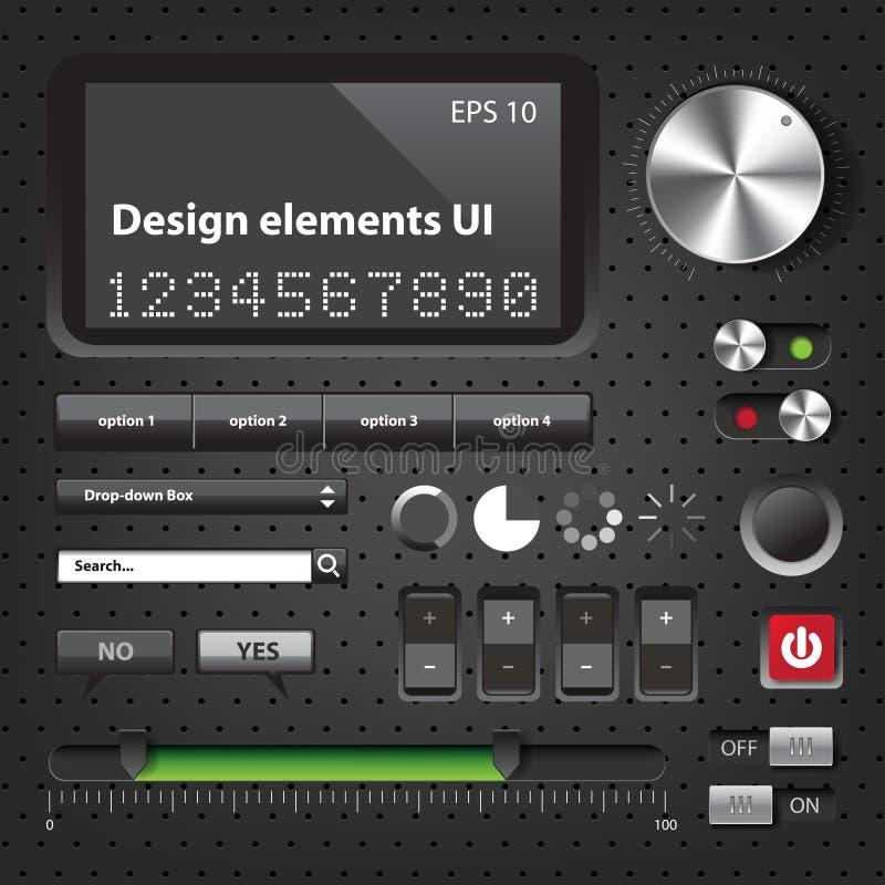 Interfaz de usuario de la oscuridad de los elementos del diseño libre illustration