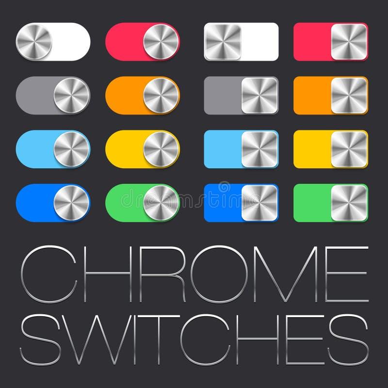 Interfaz de usuario del vector fijada incluyendo los interruptores del cromo libre illustration