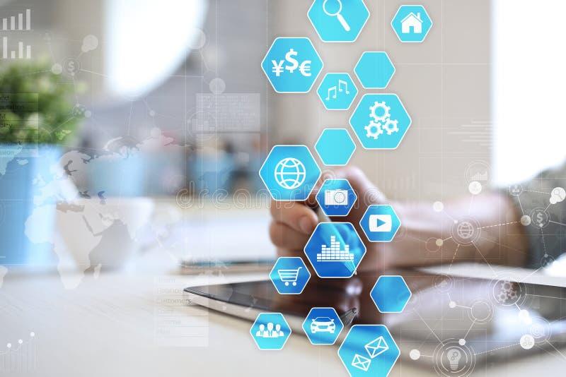 Interfaz de usuario en la pantalla virtual Tecnología del negocio y de Internet stock de ilustración