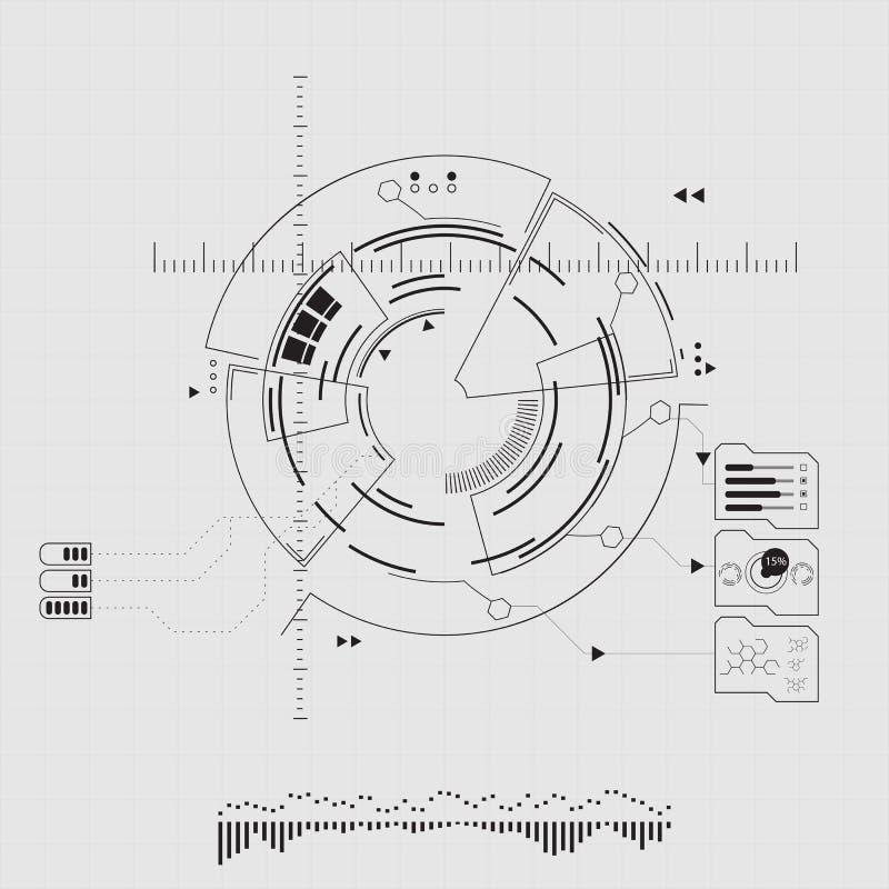 Interfaz de usuario futurista de Digitaces, HUD para el app y web ejemplo abstracto del vector stock de ilustración