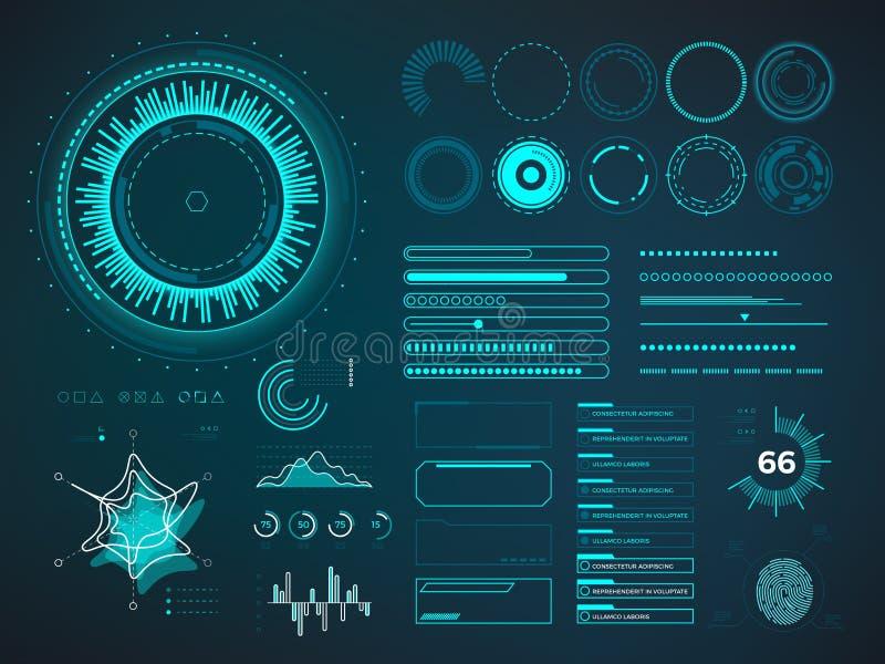 Interfaz de usuario futurista HUD Elementos del vector de Infographic ilustración del vector