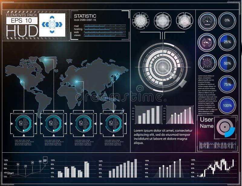 Interfaz de usuario futurista HUD UI Interfaz de usuario gráfica virtual abstracta del tacto Espacio exterior del fondo de Hud ilustración del vector