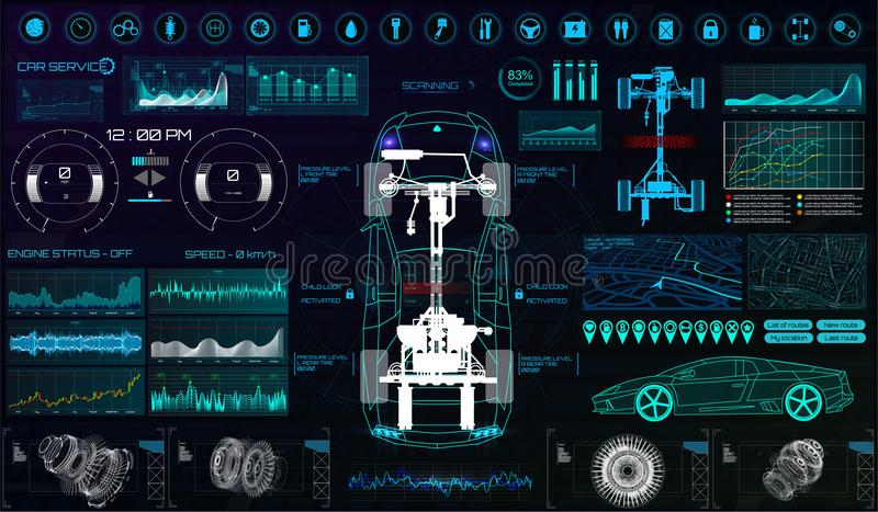 Interfaz de usuario futurista Servicio HUD del coche libre illustration