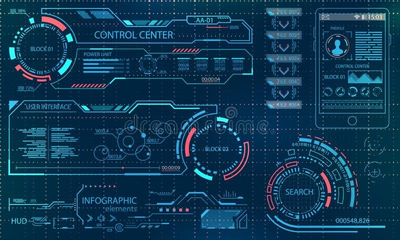Interfaz de usuario futurista Tacto gráfico virtual UI para VR HUD Infographic Elements para el diseño del movimiento stock de ilustración
