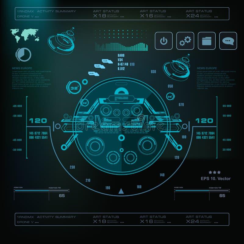 Interfaz de usuario gráfica virtual azul futurista del tacto, interfaz de la música, pistas, controles de volumen ilustración del vector