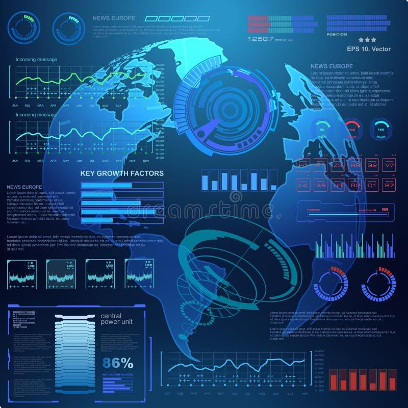 Interfaz de usuario gráfica virtual futurista del tacto, blanco libre illustration