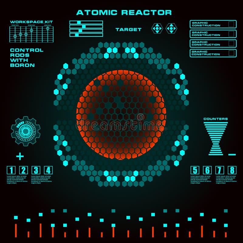 Interfaz de usuario gráfica virtual futurista del tacto del reactor atómico stock de ilustración