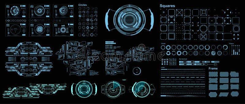 Interfaz de usuario gr?fica virtual futurista del tacto de HUD, blanco HUD Dashboard Display ilustración del vector