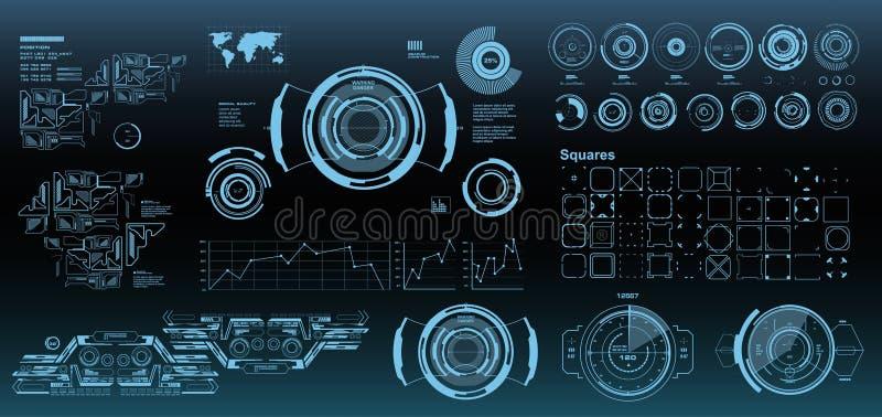 Interfaz de usuario gr?fica virtual futurista del tacto de HUD, blanco HUD Dashboard Display libre illustration
