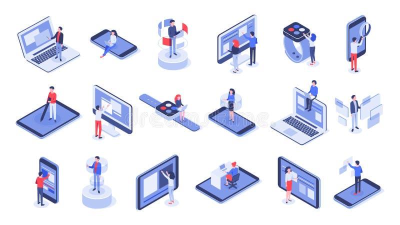 Interfaz de usuario isométrica La oficina en línea, las interacciones del dispositivo y el móvil del tacto interconecta el sistem ilustración del vector