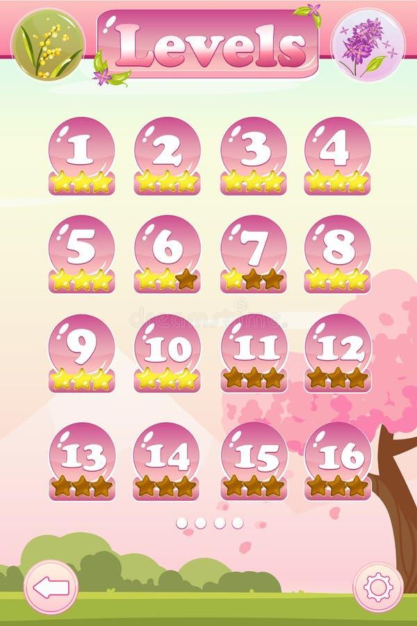 Interfaz de usuario llana del juego de la selección libre illustration