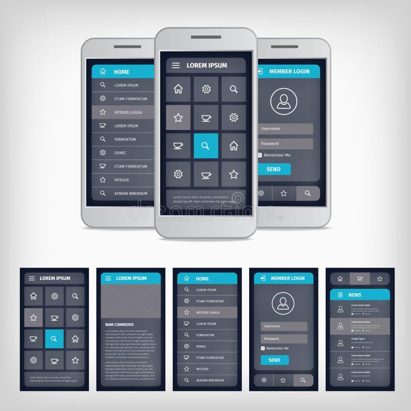 Interfaz de usuario móvil azul del vector stock de ilustración