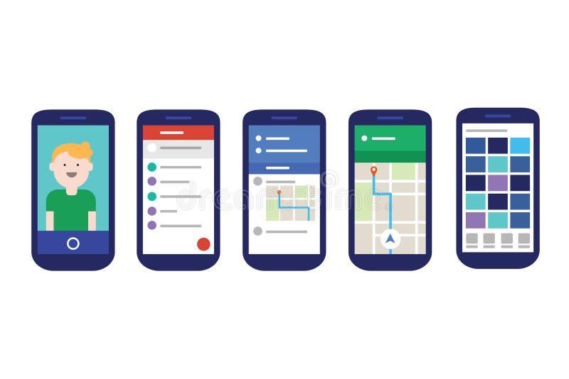 Interfaz de usuario móvil de los apps con experiencia plana del estilo material del diseño ilustración del vector