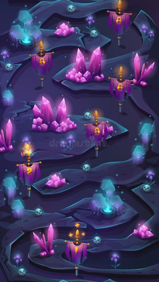 Interfaz de usuario móvil vertical del movimiento en sentido vertical del mapa con el arbusto cristal a stock de ilustración