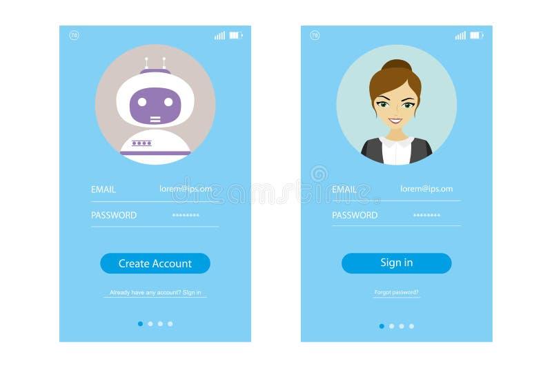 Interfaz de usuario moderna UX, plantilla de la pantalla de UI stock de ilustración