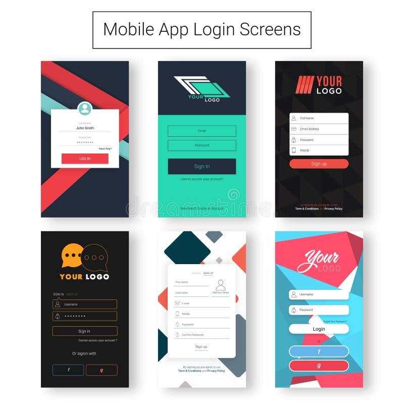 Interfaz de usuario para las pantallas de inicio de sesión móviles stock de ilustración