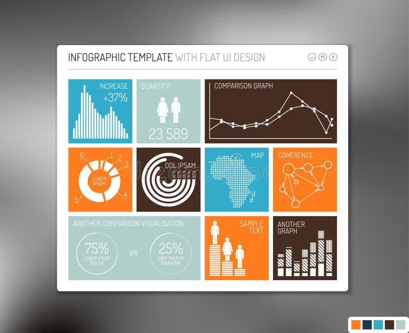 Interfaz de usuario plana del vector infographic stock de ilustración