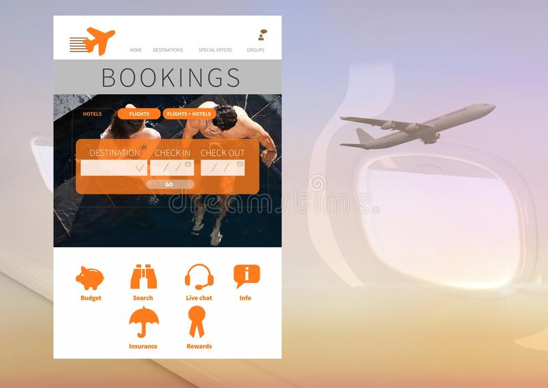 Interfaz del App de las vacaciones de las reservaciones con el aeroplano foto de archivo libre de regalías