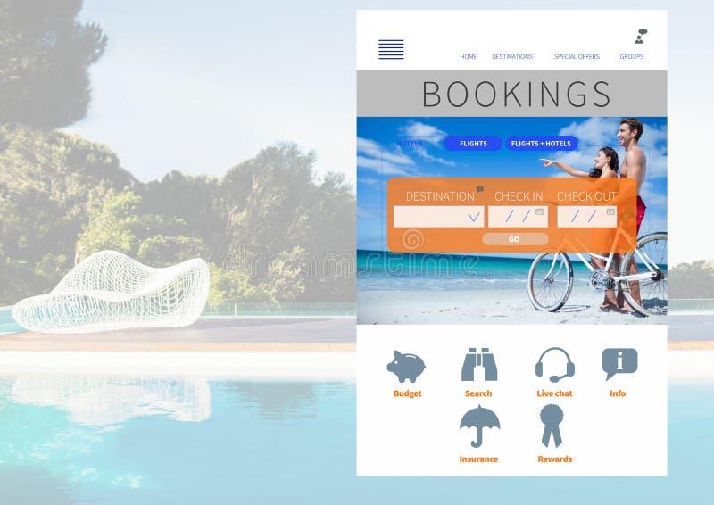 Interfaz del App de las vacaciones de las reservaciones con la piscina fotos de archivo